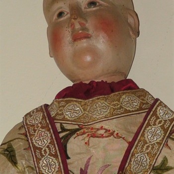 Jesus Santo 18th Century Dressed in 18th Century Vestment Material Carved Wood Glass Eyes - Christmas
