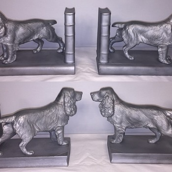 "Vintage/Antique Steel Bird Dog Bookends with ""O.S."" stamped on one tail and ""R D Applied For"" on other tail... - Books"