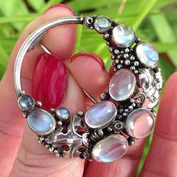Dorrie Nossiter Silver Moonstone Brooch - Art Deco