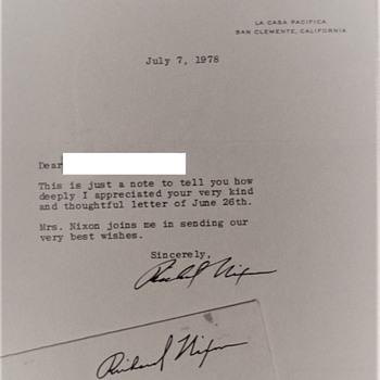 Richard Nixon Letter July 7, 1978 La Casa Pacifica San Clemente, California - Politics