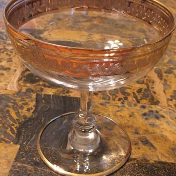 crystal glasses with gold enamel design - Glassware