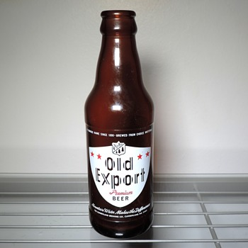 1970 Old Export Beer Bottle Cumberland Brewing Maryland Anchor Hocking Glass Amber Brown Vintage ACL 7 ounces - Bottles