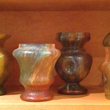 Czechoslovakia Sand Paper Finish Glass Vases.  Complete Collection of 20 - Art Glass