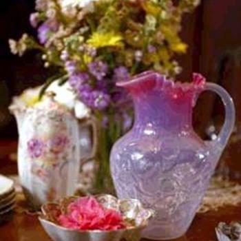 Pink Opalescent Glass Pitcher - Art Glass