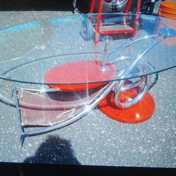 Chrome twisted leg table  - Furniture