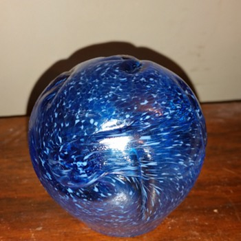 Blue Glass Paperweight with mottled finish - Art Glass