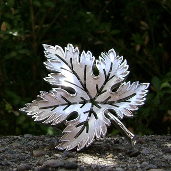 Vintage Trifari Leaf Brooch - Costume Jewelry