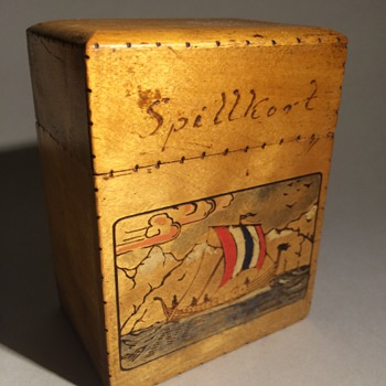 Norwegian Sailor's Playing Cards Wooden Box (Treen)