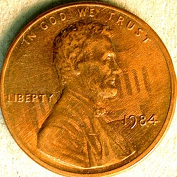 1984 Lincoln Memorial cent with Rotated Die Clash
