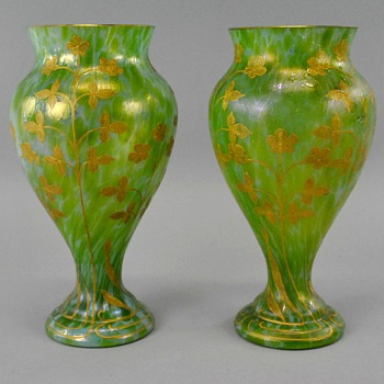 Pair of Loetz Dek I/160 Ozone Cisele Vases - Art Glass
