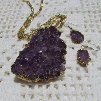 Crystal Amethyst Necklace and Earrings Set - Fine Jewelry