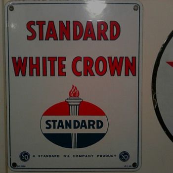 Standard White Crown Gas Sign - Petroliana