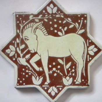 Arts and Crafts Star Shaped Tile~Handmade, with Donkey relief - Pottery