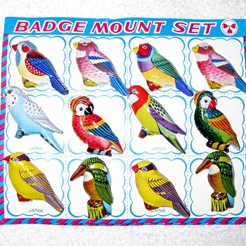 "60's tin litho bird badges or ""hey, ma - I bought a Gran Torino!"" - Costume Jewelry"