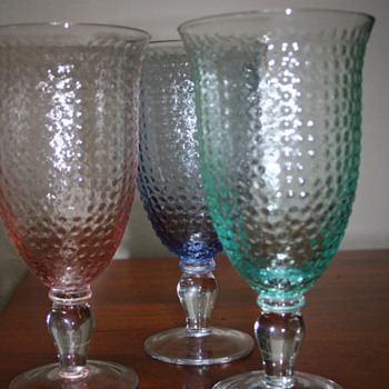 Depression Glass? Fenton Hobnail? Wine Goblets. - Glassware