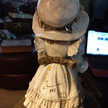 Victorian Ceramic Girl signed - Figurines