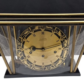 Mid Century Modern German Atlanta Schwebeanker Zodiac Mantle Clock - Clocks