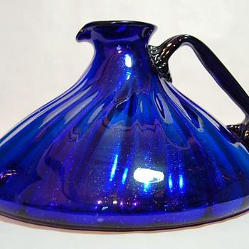 Big Blue Cobalt Pitcher - Art Glass