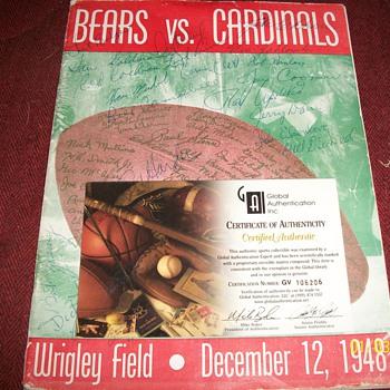 1948 Chicago Bears vs cardinals, football program.