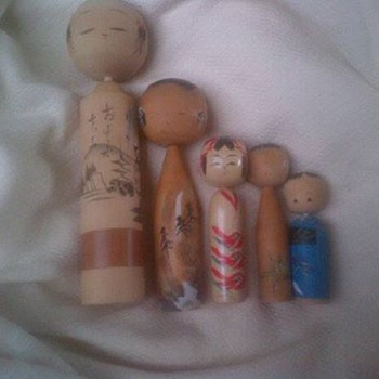 Vintage wooden Kokeshi dolls - Dolls