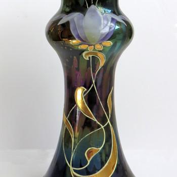 Rindskopf Amethyst Oil Spot Vase with Enameling