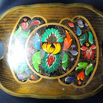 Another Hand Painted Mexican Tray Made of Light Wood - Kitchen