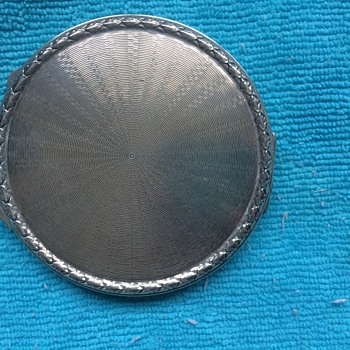 1940s Silver compact Case Engraved JC 1945-1955 - Silver
