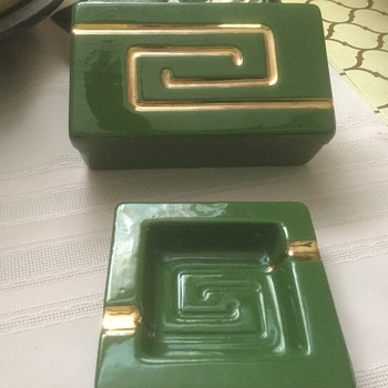 Midcentury ashtrays and cigarette container
