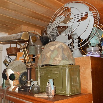 Militaria Display On Top the Matchbox  Cabinet