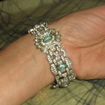 Paste white & green rhinestone art deco bracelet - Costume Jewelry