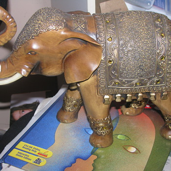 Wooden decorated elephant  - Animals