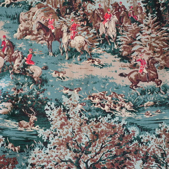 French? Hunting Toile Fabric Panel - Sewing
