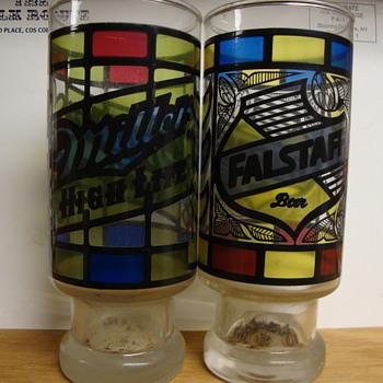 FALSTAFF & MILLER HIGH LIFE BEER GLASSES....COLORFUL  - Breweriana