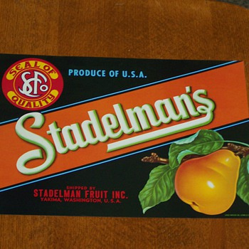 (NOS) New Old Stock - Stadelman's Pears Fruit Crate Label