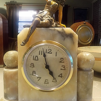 Early New Haven Clock with J. B. Hirsch Harlequin figure finial, 1918 - 22 - Clocks