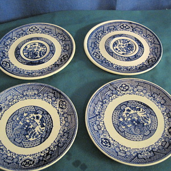 Flow Blue (?) ?Saucers - China and Dinnerware