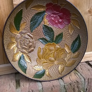 Large Mid-Century Japanese Plastic Embossed Bowl Thrift Shop Find - Mid-Century Modern