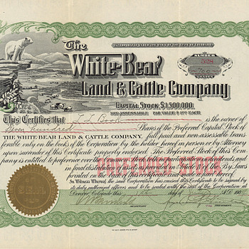 White_Bear Land & Cattle - wonderful vignette! - US Paper Money