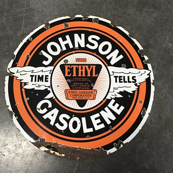 Johnson Gasolene sign with Ehtyl  - Petroliana