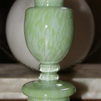 Welz Mini Trophy Vase - Variegated Green Without Handles - Art Glass