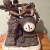 Antique French mantel clock. Cast angel writing V. Hugo Pasteur.