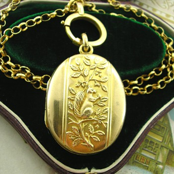 Sweet Victorian Pinchbeck Locket with Squirrel and Nut  - Fine Jewelry