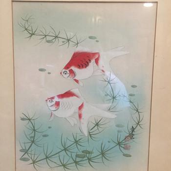 Japanese Koi or Gourami signed - Asian