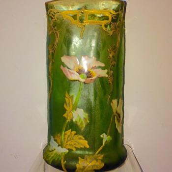 Nouveau Legras Mont Joye St Denis Enamelled Vase - Art Glass