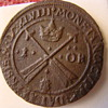 Old coin with old book, Queen Christina of Sweden