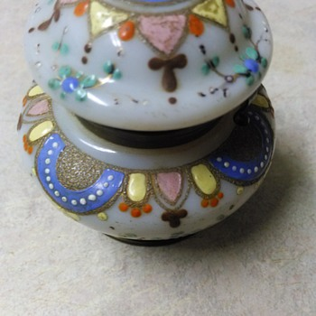 ENAMEL PAINTED GLASS TRINKET BOX - Art Glass