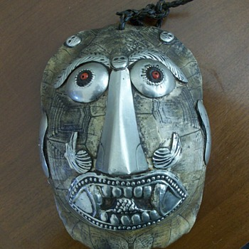 Applied Silver Face on Turtle Shell~Mexican? - Folk Art
