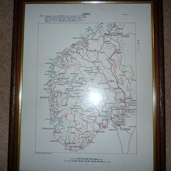 British WW11 silk escape map of Norway.