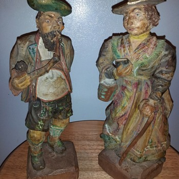 """AWESOME HAND CARVED WOOD FIGURES 11"""" - Fine Art"""
