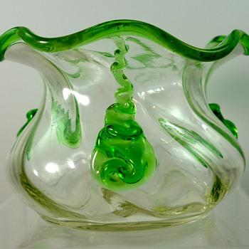 Loetz Crystal Optic bowl with applied drips, PN II-6176, ca. 1908 - Art Glass